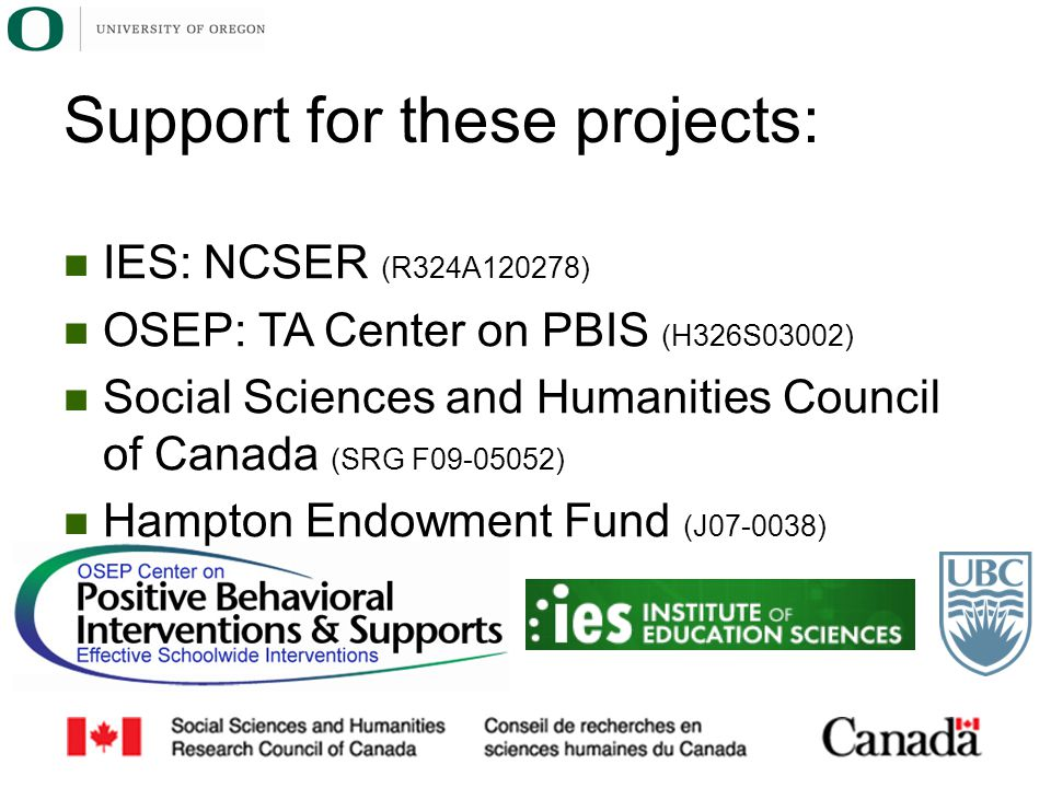 Support for these projects: