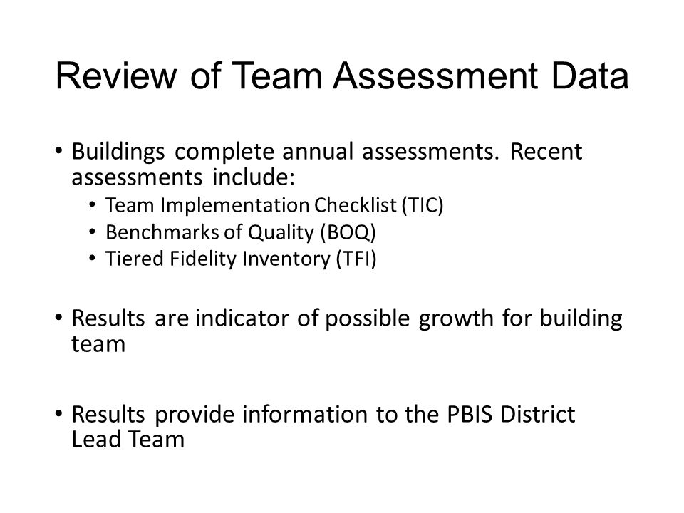 Review of Team Assessment Data