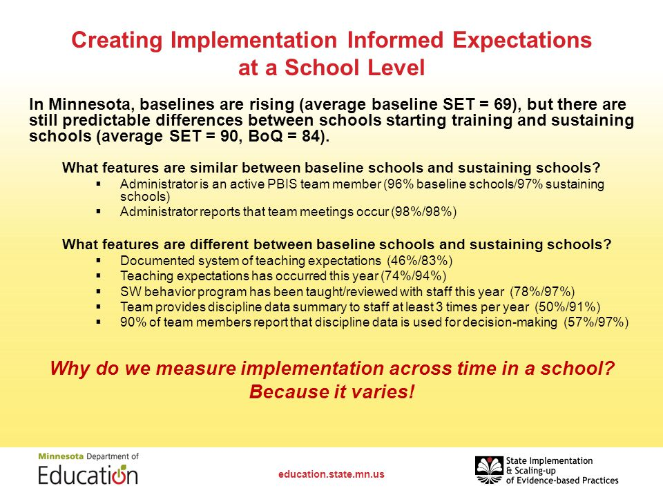 Creating Implementation Informed Expectations at a School Level