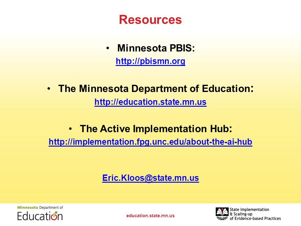The Minnesota Department of Education: The Active Implementation Hub: