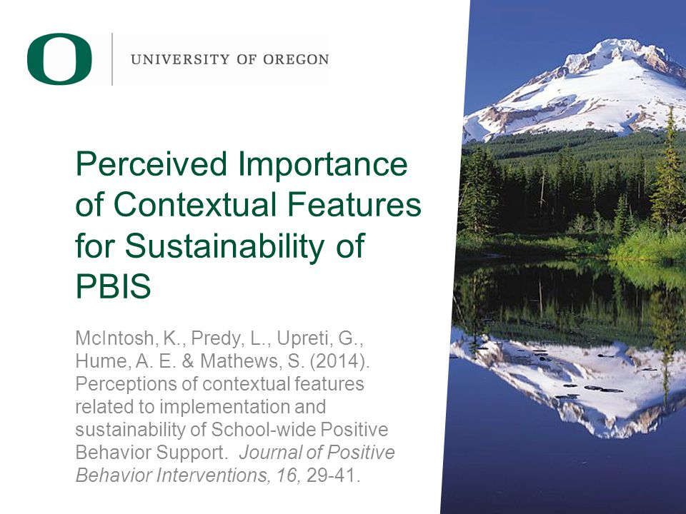 Perceived Importance of Contextual Features for Sustainability of PBIS