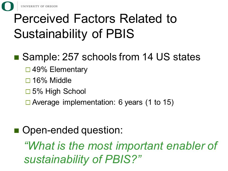 Perceived Factors Related to Sustainability of PBIS