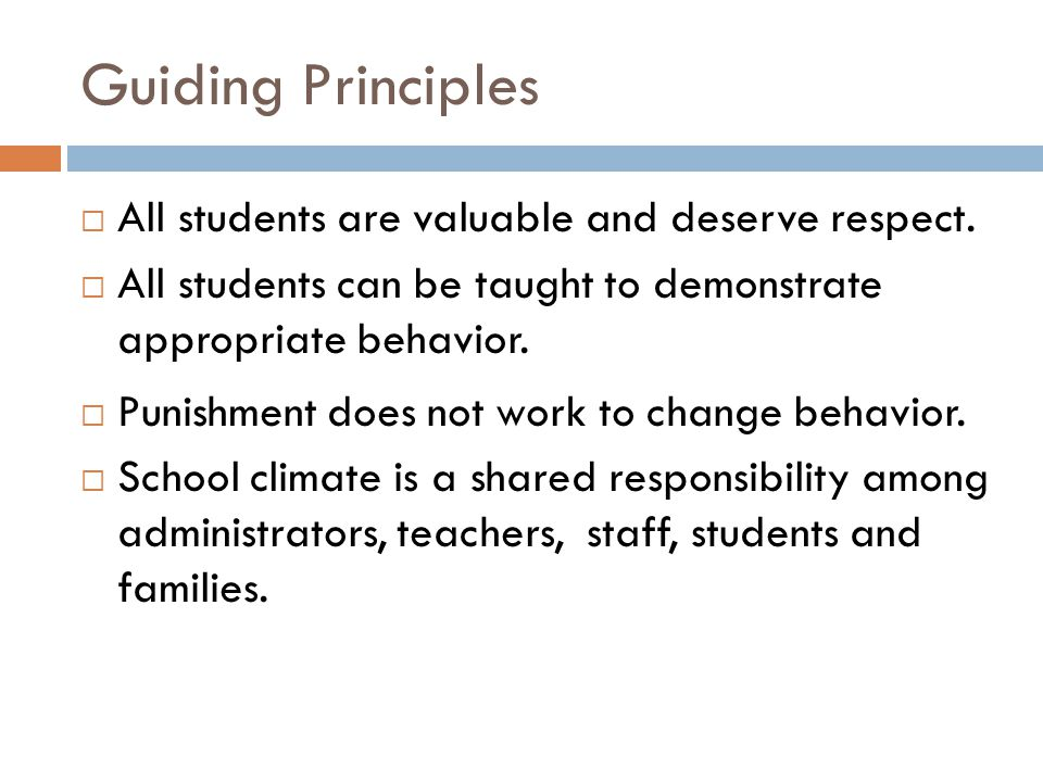 Guiding Principles All students are valuable and deserve respect.