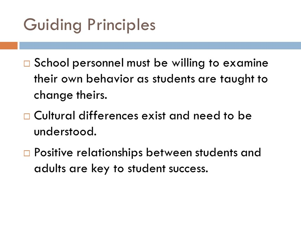 Guiding Principles School personnel must be willing to examine their own behavior as students are taught to change theirs.