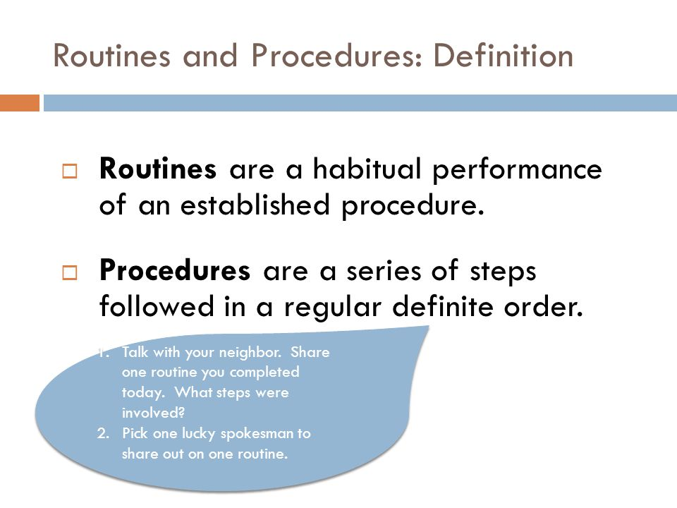 Routines and Procedures: Definition