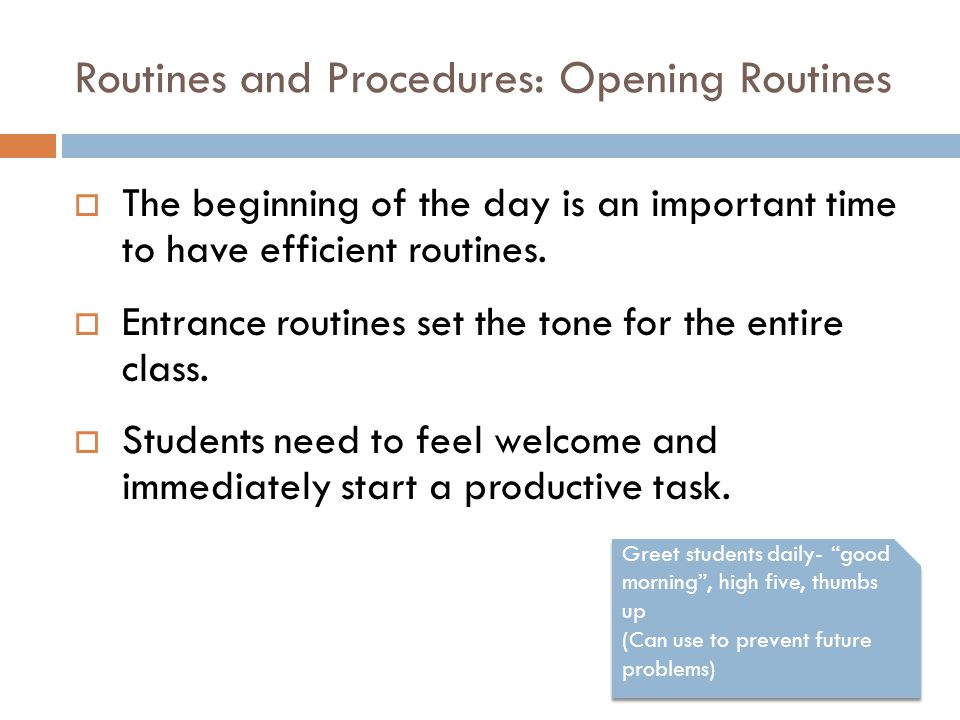 Routines and Procedures: Opening Routines