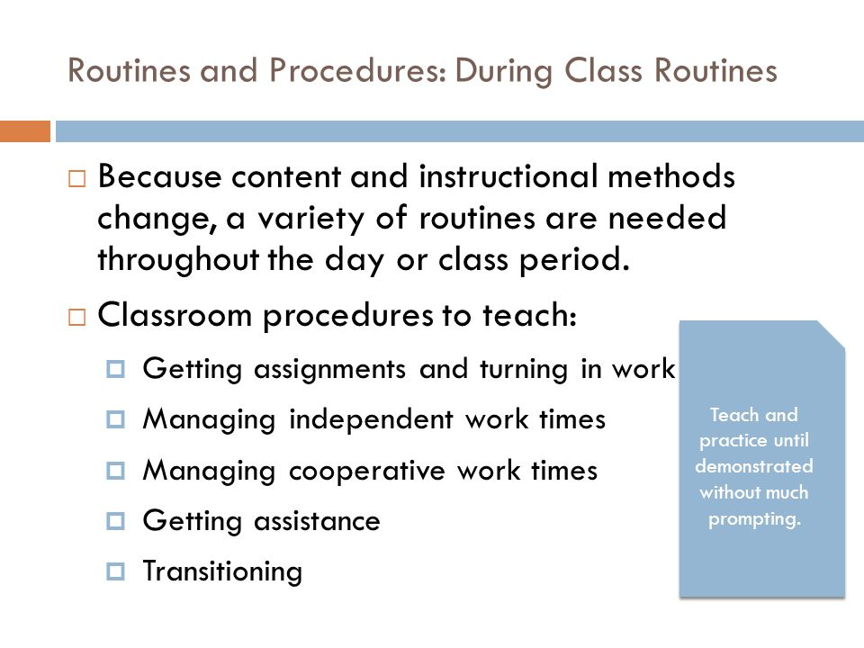 Routines and Procedures: During Class Routines