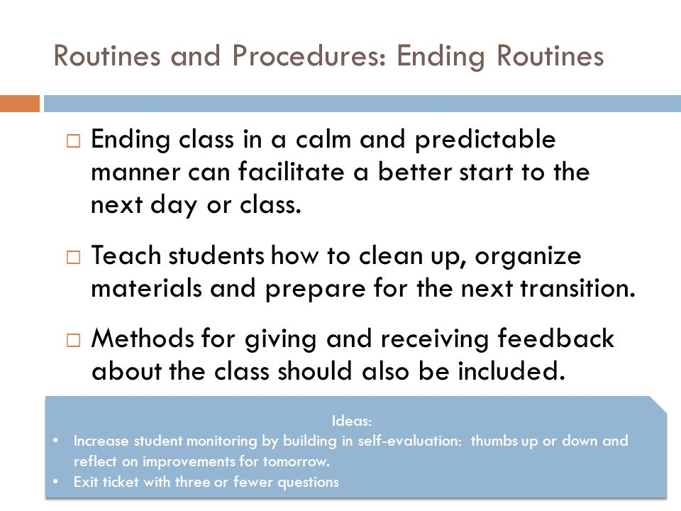 Routines and Procedures: Ending Routines
