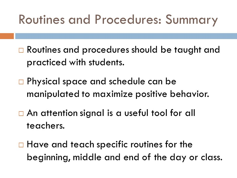 Routines and Procedures: Summary