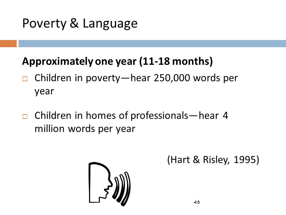 Poverty & Language Approximately one year (11-18 months)