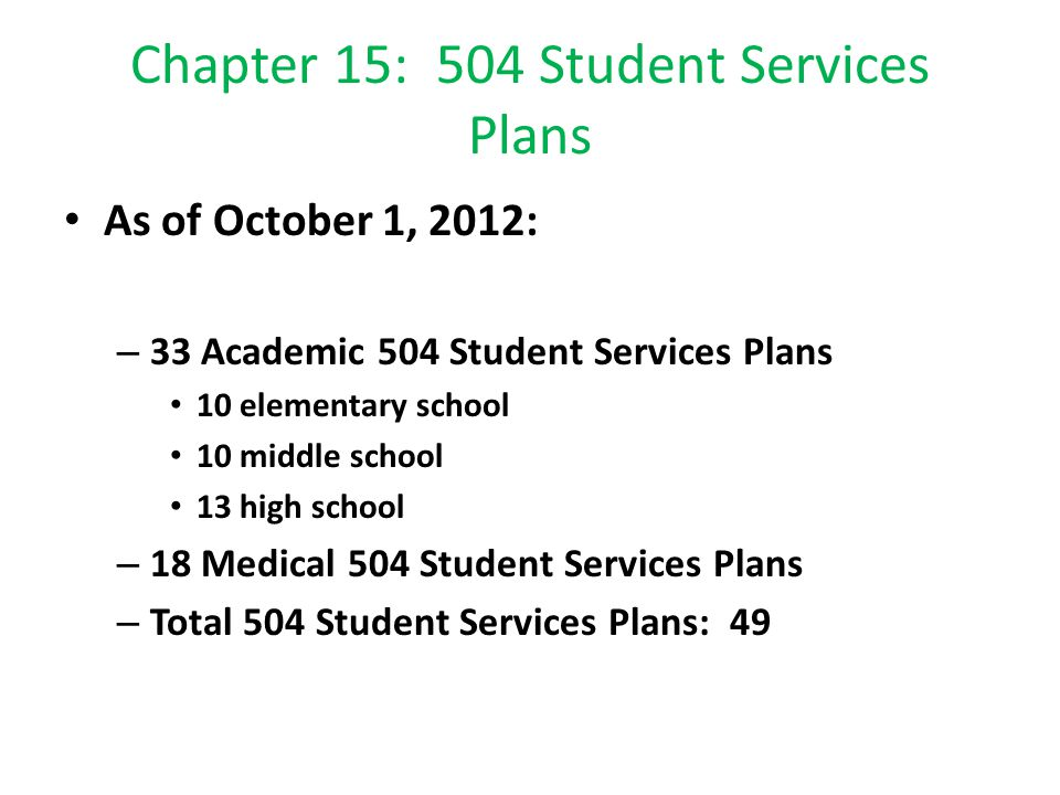 Chapter 15: 504 Student Services Plans