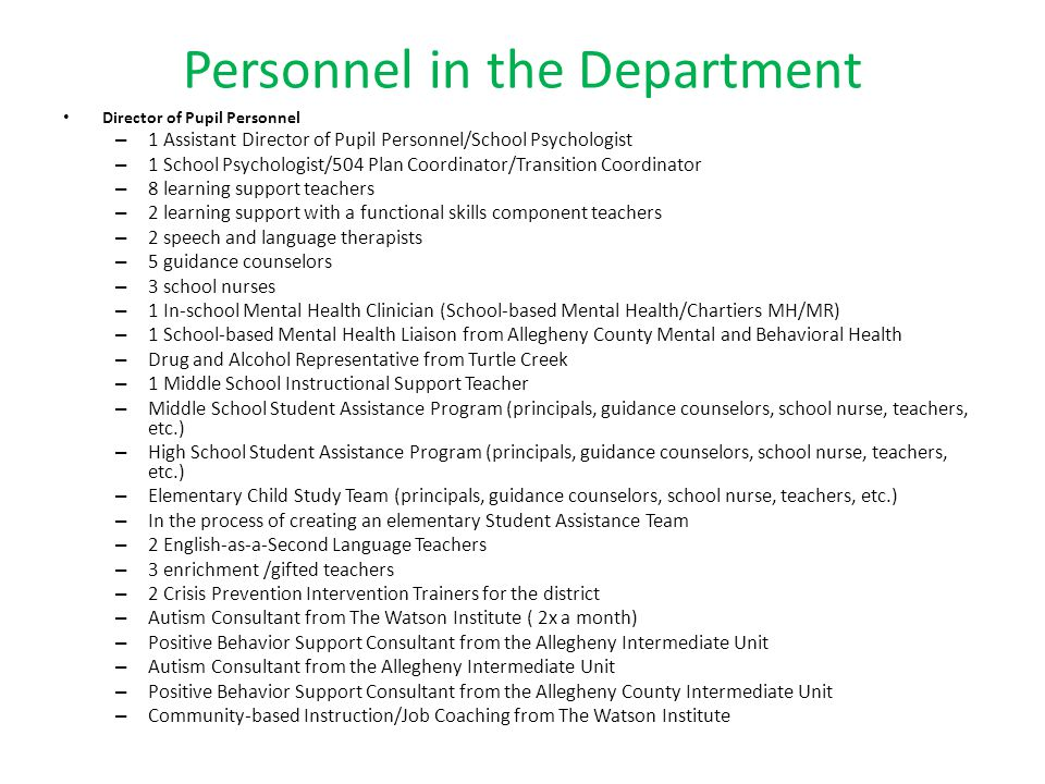 Personnel in the Department