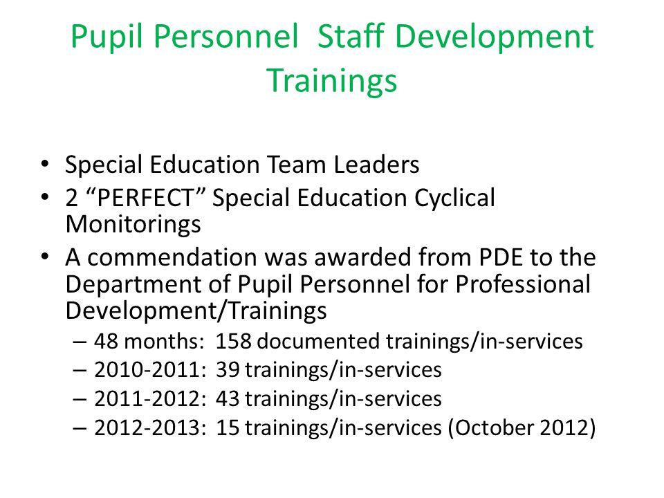 Pupil Personnel Staff Development Trainings