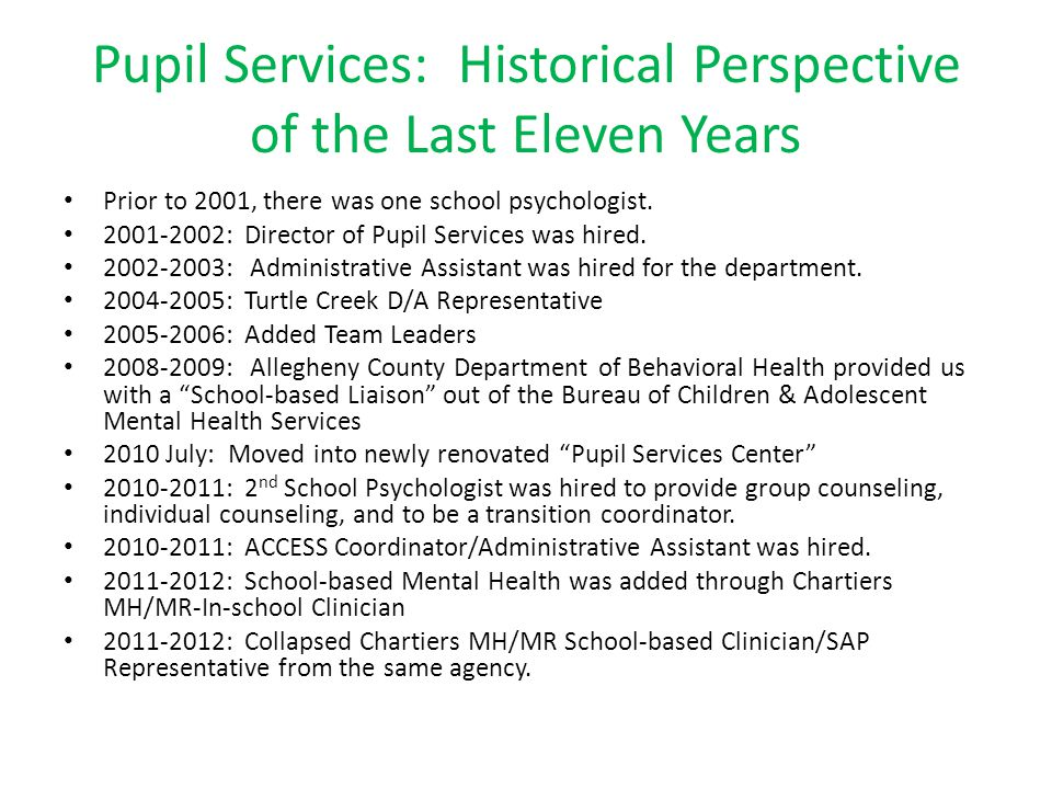 Pupil Services: Historical Perspective of the Last Eleven Years