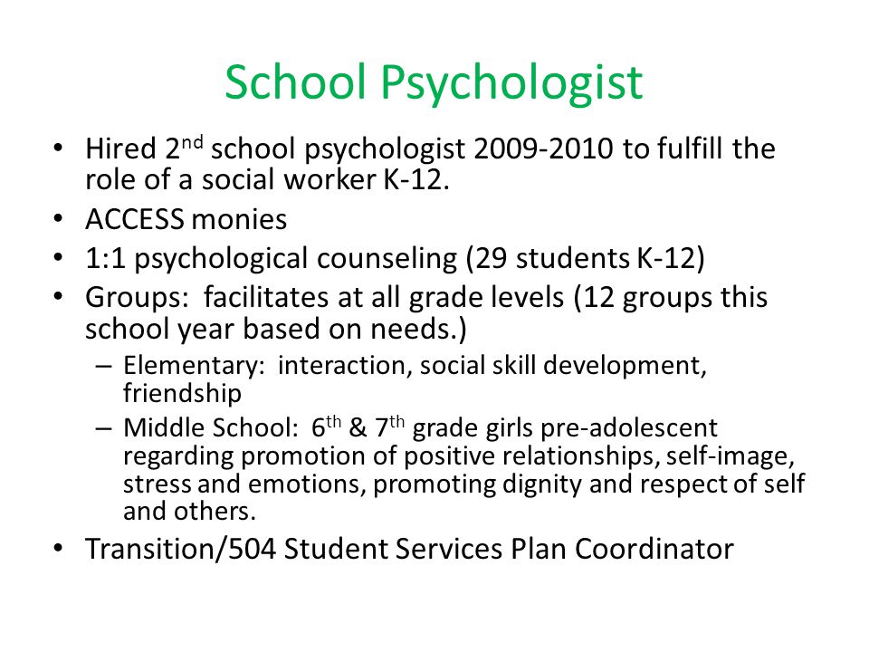 School Psychologist Hired 2nd school psychologist 2009-2010 to fulfill the role of a social worker K-12.