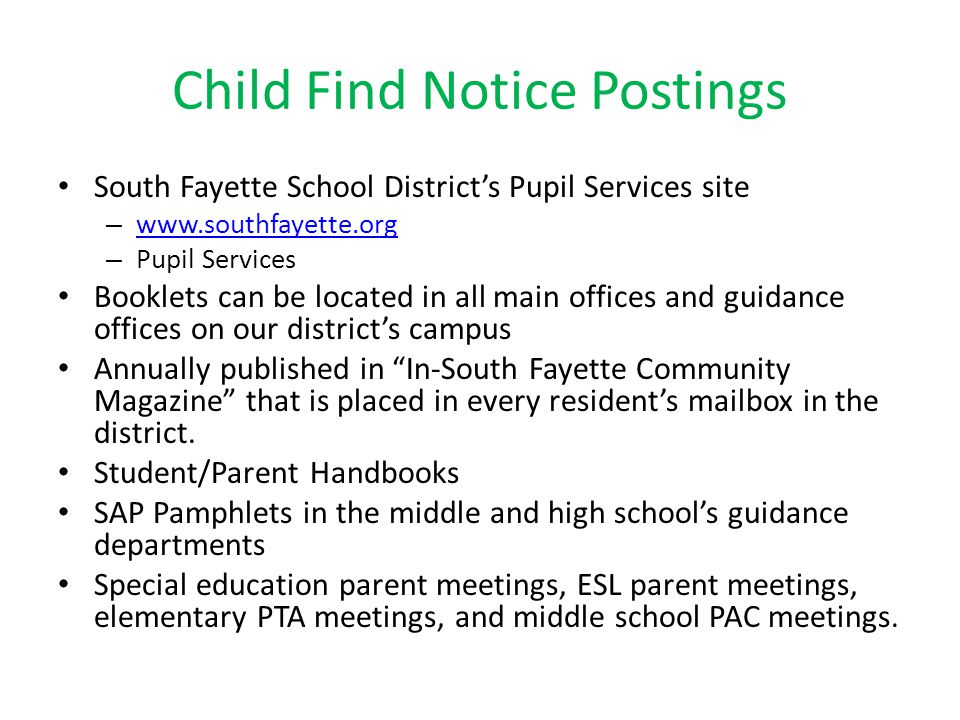 Child Find Notice Postings