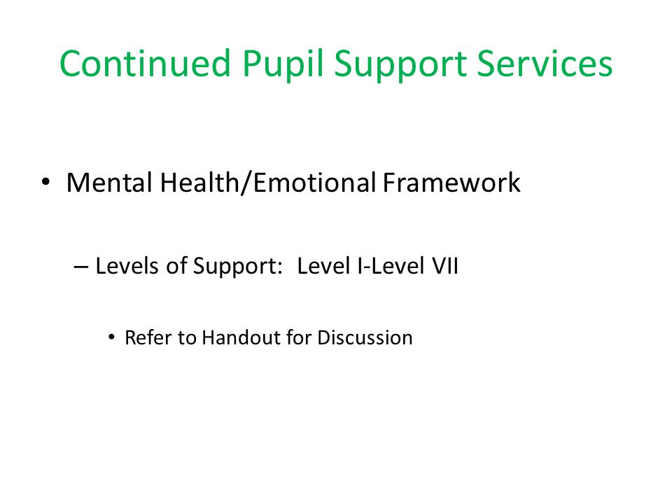 Continued Pupil Support Services