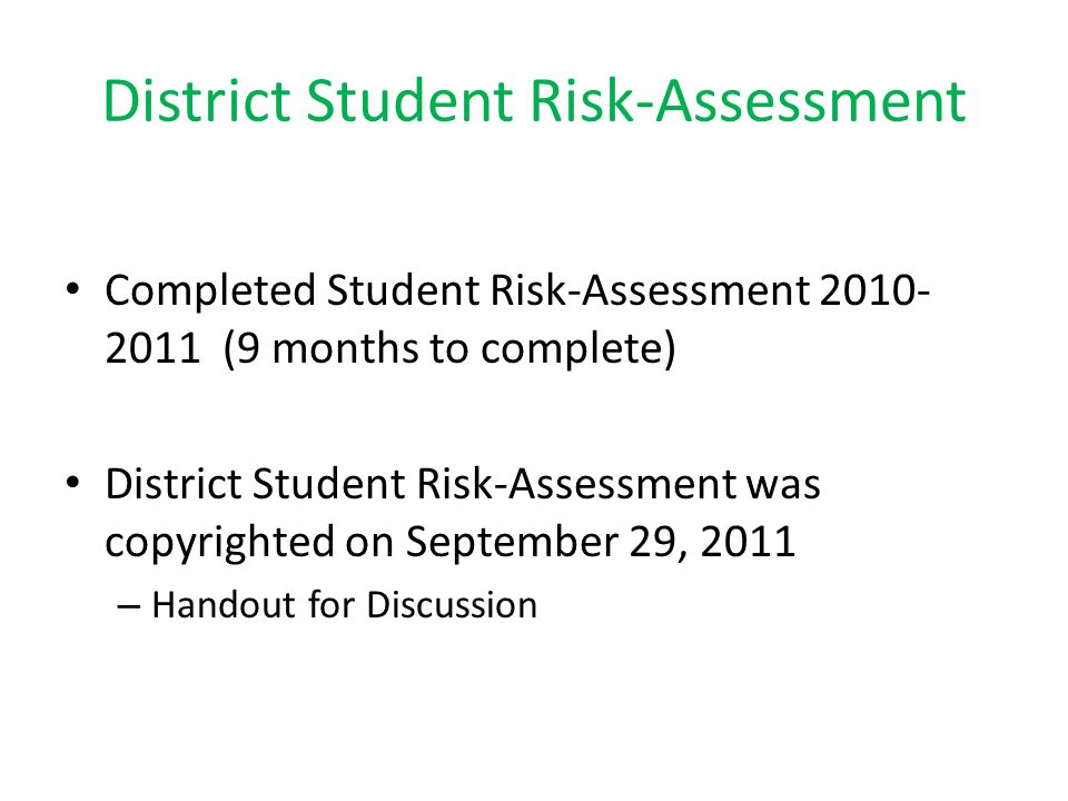 District Student Risk-Assessment