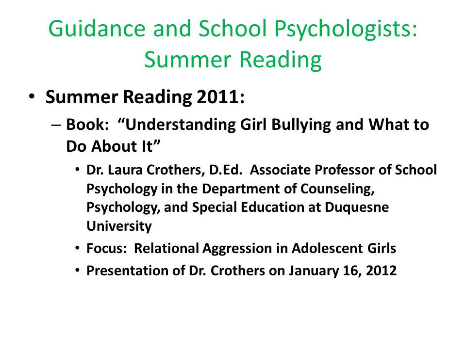 Guidance and School Psychologists: Summer Reading