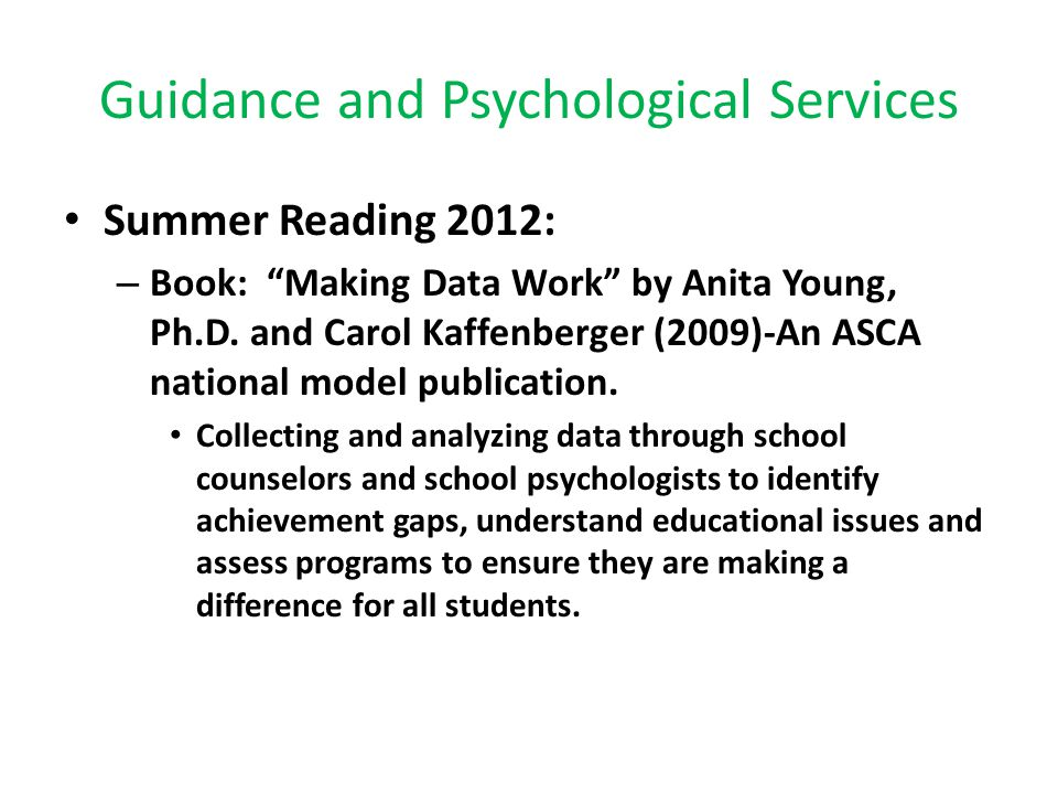 Guidance and Psychological Services