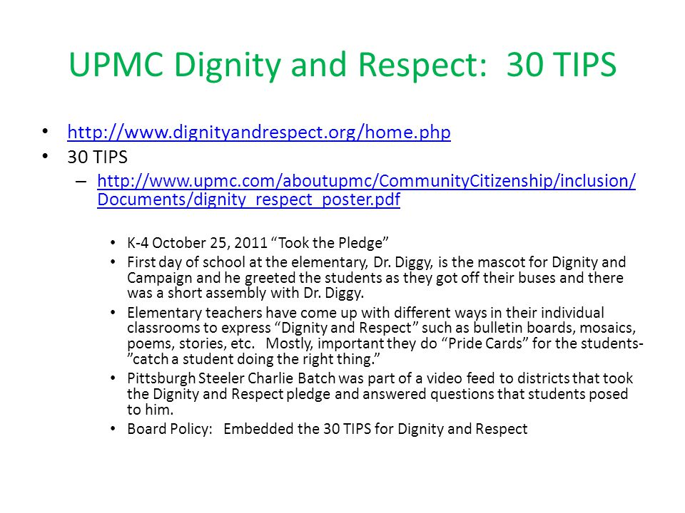 UPMC Dignity and Respect: 30 TIPS