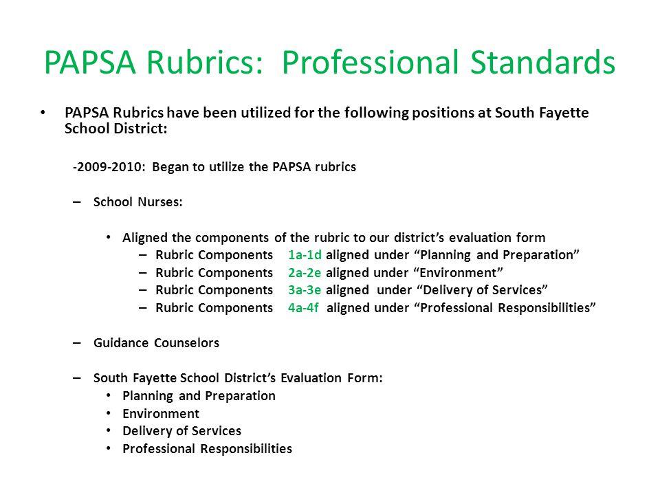 PAPSA Rubrics: Professional Standards