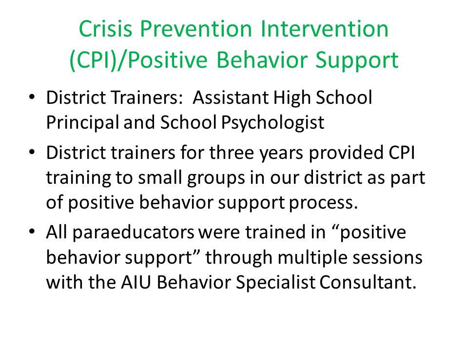Crisis Prevention Intervention (CPI)/Positive Behavior Support