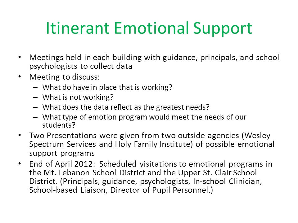 Itinerant Emotional Support