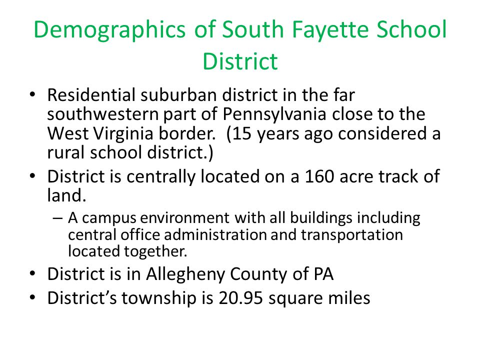 Demographics of South Fayette School District
