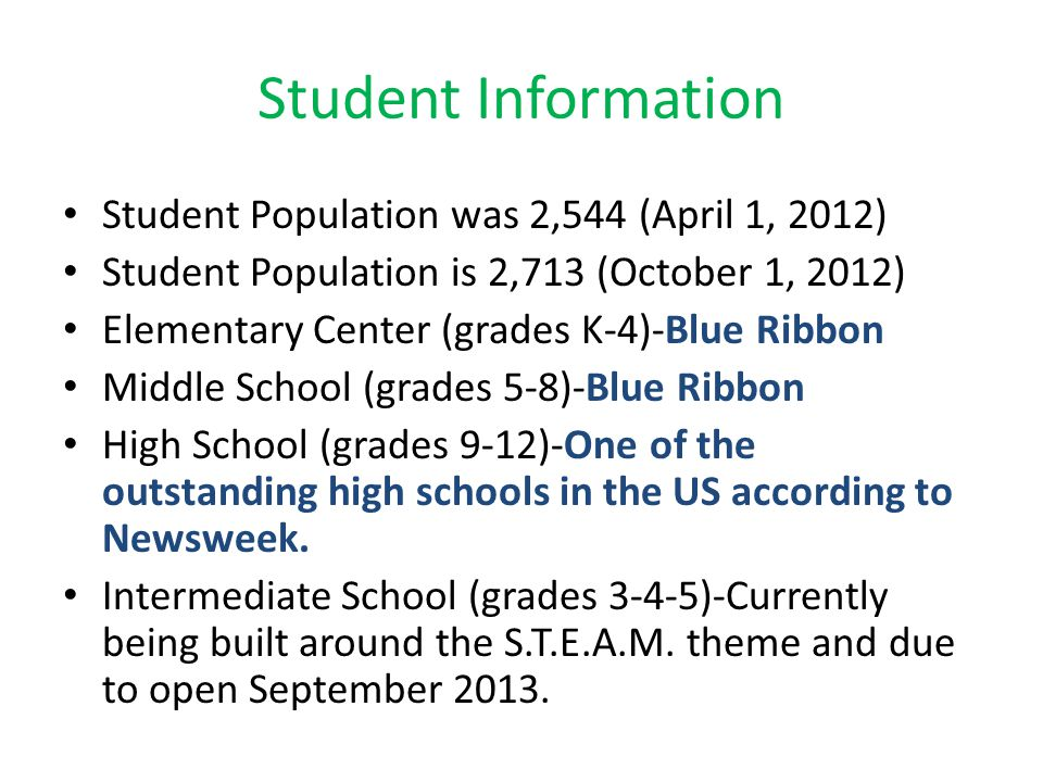 Student Information Student Population was 2,544 (April 1, 2012)