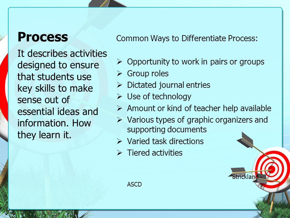 Process Common Ways to Differentiate Process: Opportunity to work in pairs or groups. Group roles.