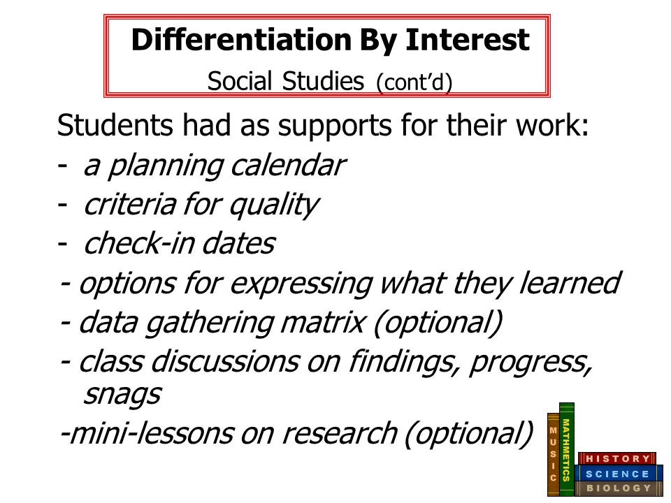 Differentiation By Interest Social Studies (cont'd)