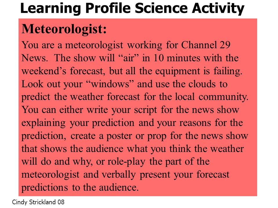Learning Profile Science Activity