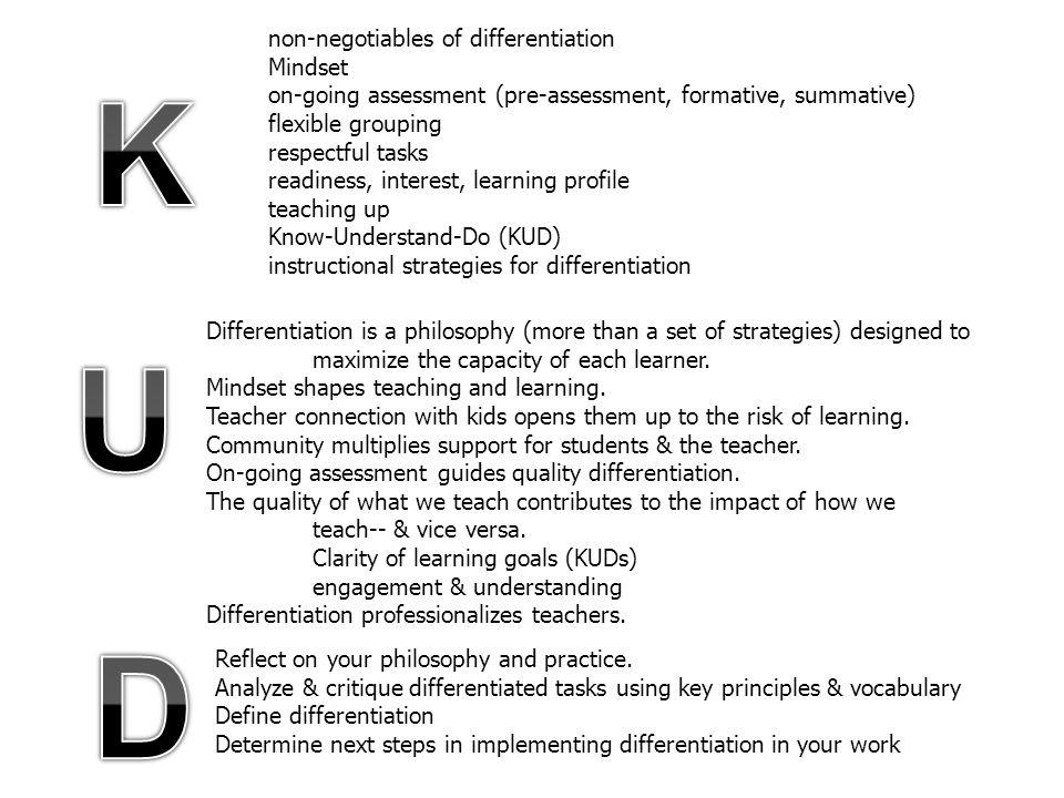 K U D non-negotiables of differentiation Mindset