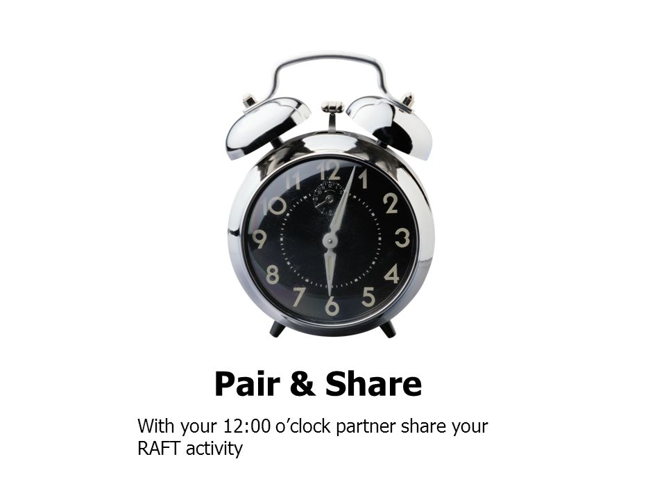 Pair & Share With your 12:00 o'clock partner share your RAFT activity
