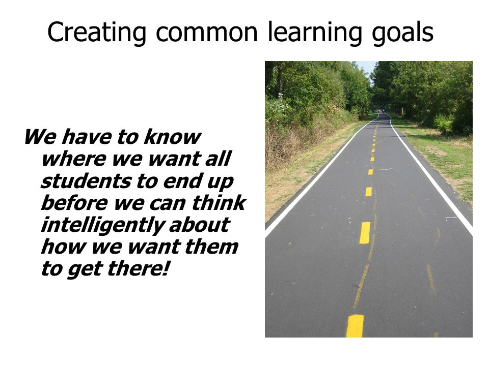 Creating common learning goals