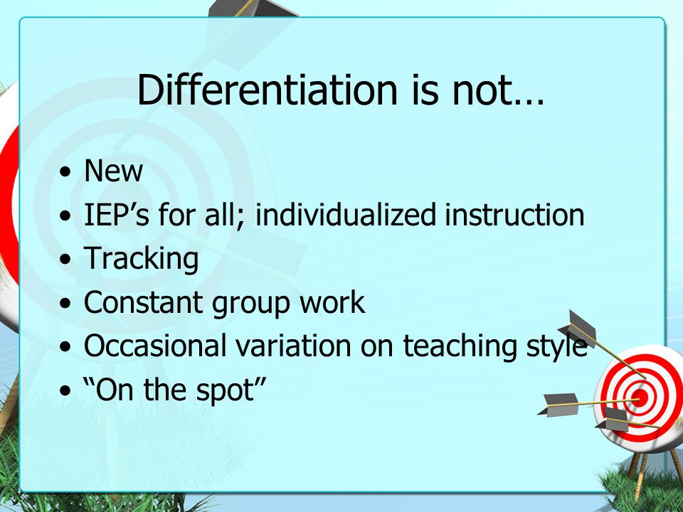 Differentiation is not…