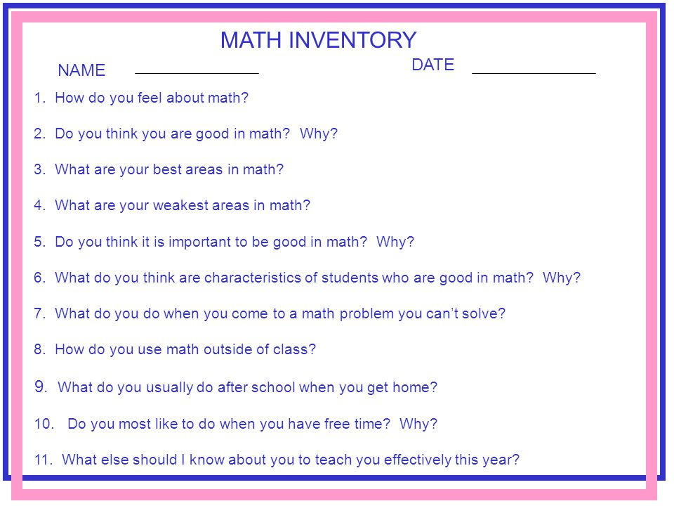 MATH INVENTORY DATE NAME