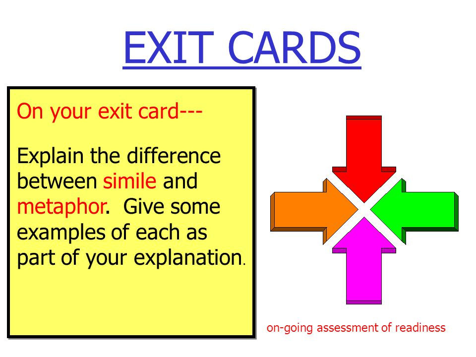 EXIT CARDS On your exit card--- Explain the difference