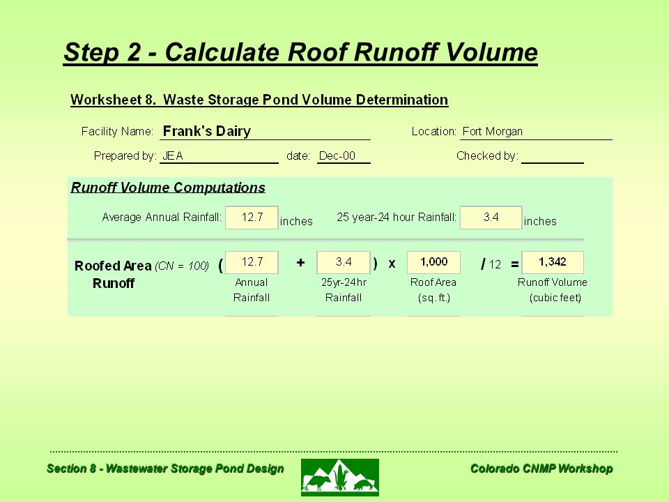 Step 2 - Calculate Roof Runoff Volume