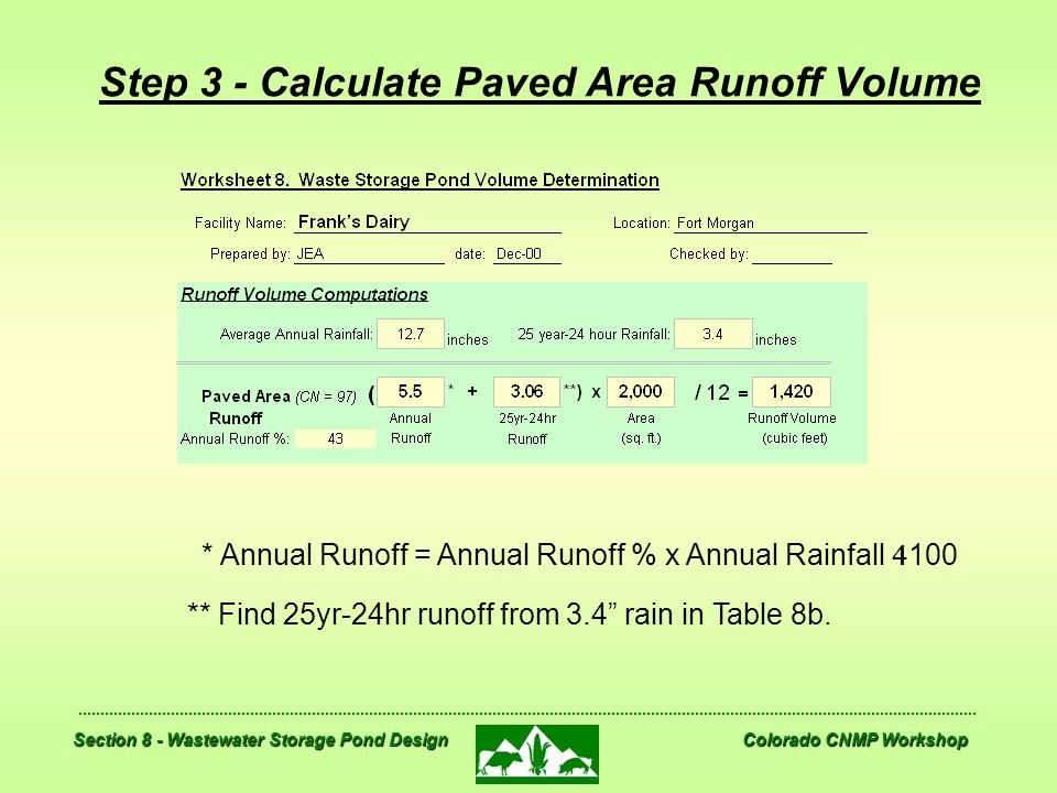 Step 3 - Calculate Paved Area Runoff Volume