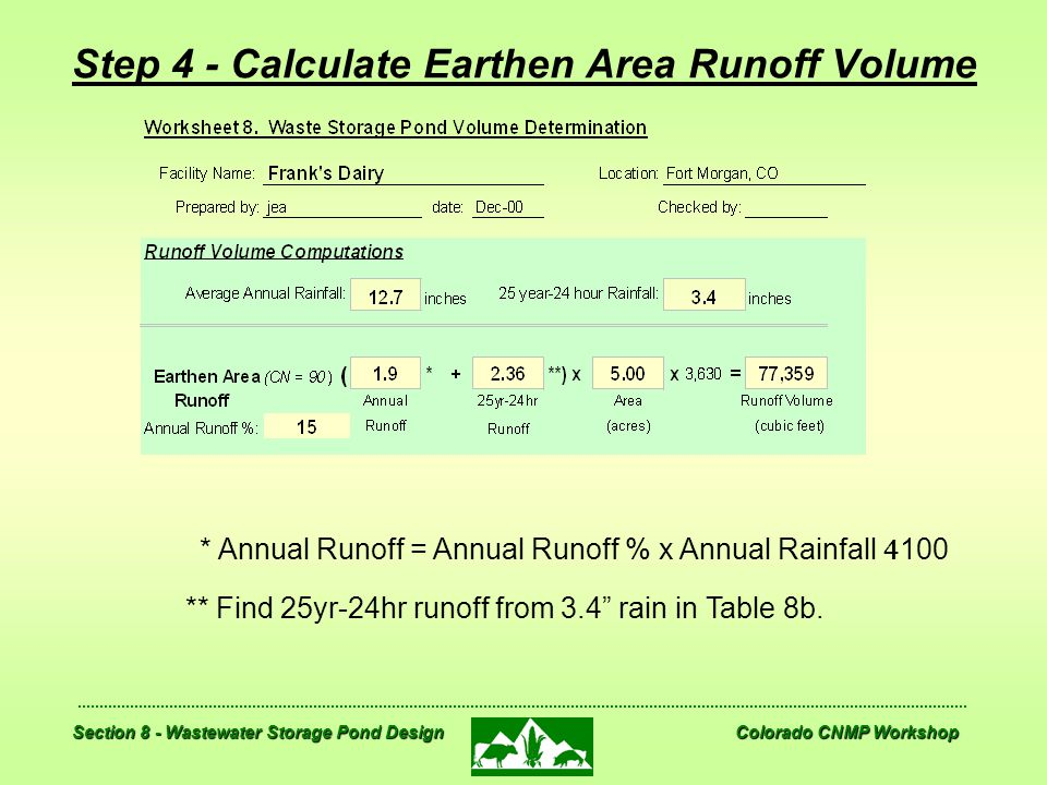 Step 4 - Calculate Earthen Area Runoff Volume