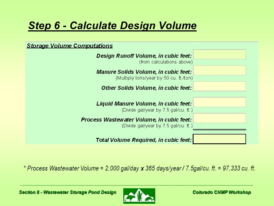 Step 6 - Calculate Design Volume