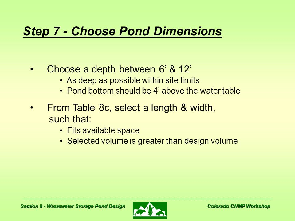 Step 7 - Choose Pond Dimensions