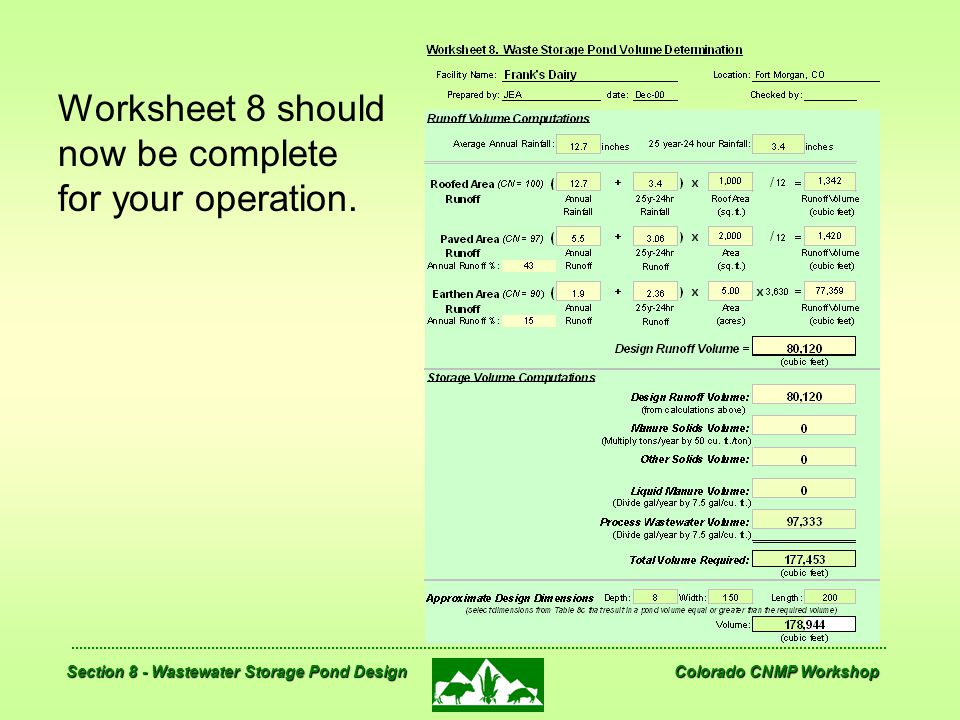 Worksheet 8 should now be complete for your operation.
