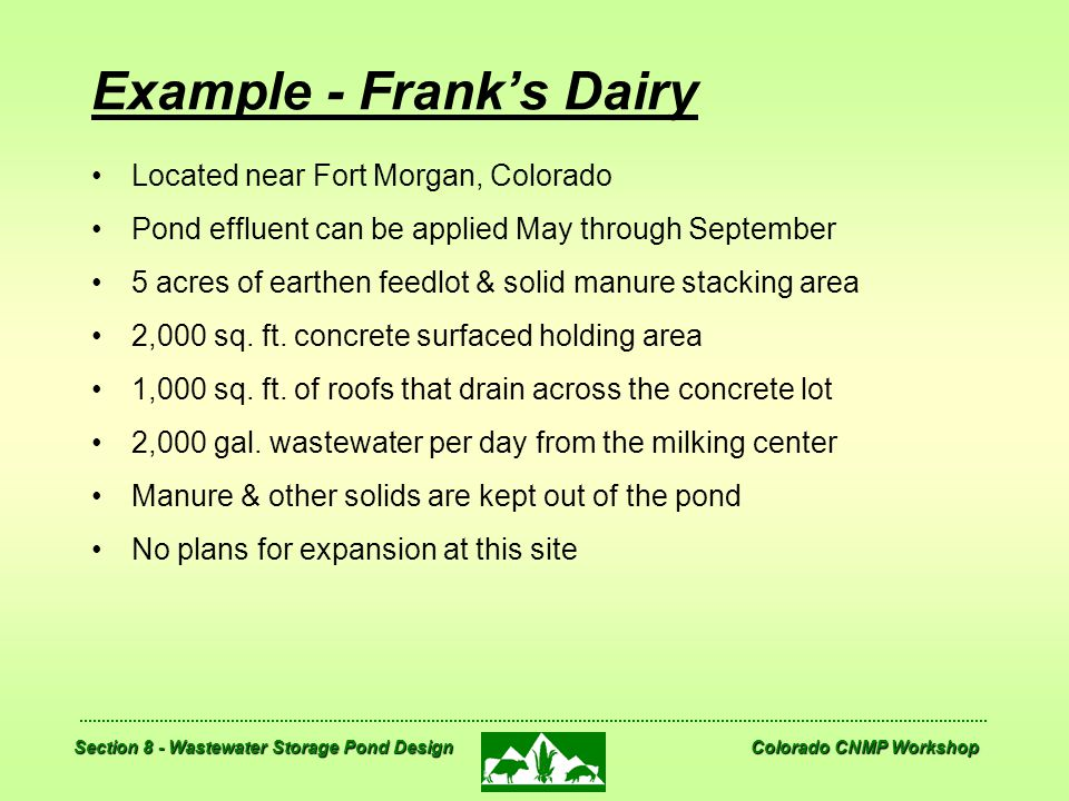 Example - Frank's Dairy