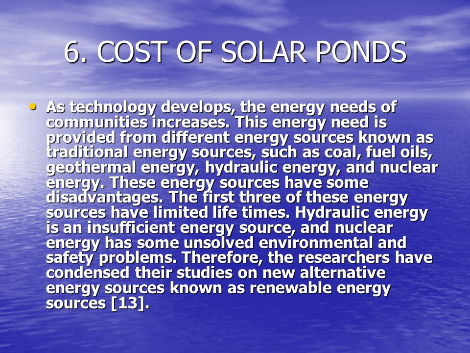 6. COST OF SOLAR PONDS