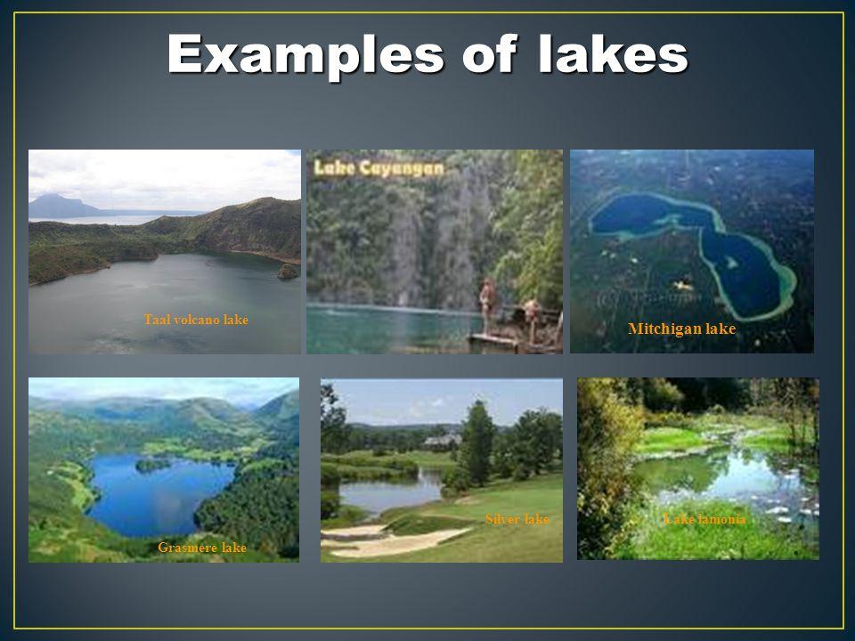 Examples of lakes Mitchigan lake Taal volcano lake Silver lake