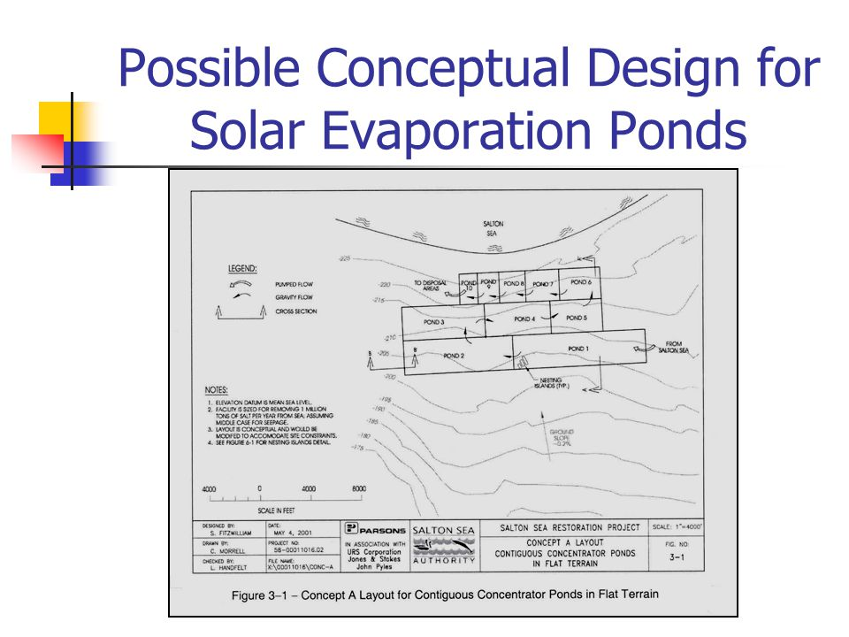 Possible Conceptual Design for Solar Evaporation Ponds