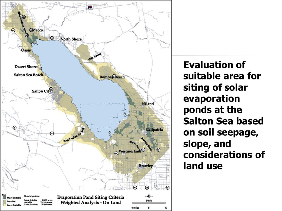 Evaluation of suitable area for siting of solar evaporation ponds at the Salton Sea based on soil seepage, slope, and considerations of land use
